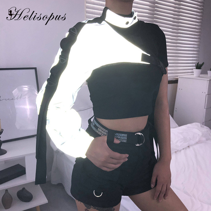 Helisopus Fashion Reflective Crop   Top   One Shoulder Personality Irregular   Tops   with Buckle Choker Collar Women Streetwear