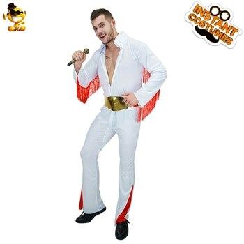 Gli Uomini adulti di Elvis Presley Tuta Costumi di Gioco di Ruolo Purim Festa di Carnevale Per Adulti Hippie Cotumes