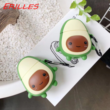 Cute 3D cartoon avocado-shaped earphone case for Apple Airpods 2, for AirPods silicone earphone case