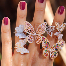 Borboleta cocktail anel para mulher luxo ouro rosa arco íris cz pavimentado aberto ajustado moda jóias