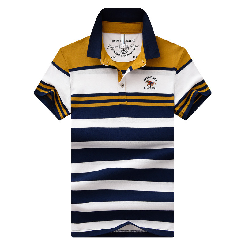 Pure Cotton Polo Shirt MEN'S Short Sleeve 2019 Summer New Style Stripes Casual Base Clothes Business Fold-down Collar Embroidery