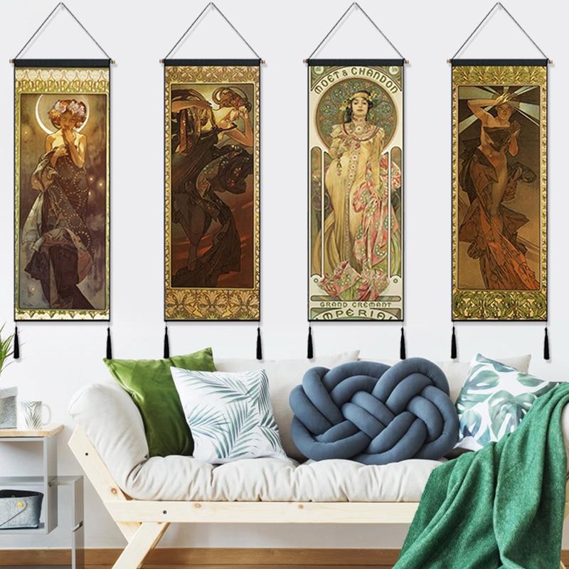 Ипомея белая богиня Альфонс Марии муча, висячая ткань, хлопок, линия, картины, плакаты, домашняя декоративная настенная вешалка, гобелен, подарок