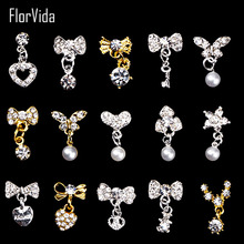FlorVida 1pc Nail Art Rhinestones Gems 3D Crystals Strass Stones Alloy Pendant bow-knot Gold Silver Studs Decoration for Nails
