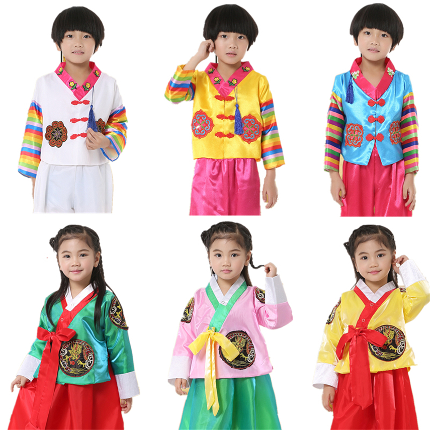 8Color Kids Korean Hanbok Costumes Traditional Nationality Fashion Clothing Boys Girls Performance Dance Top Skirt 100-160CM