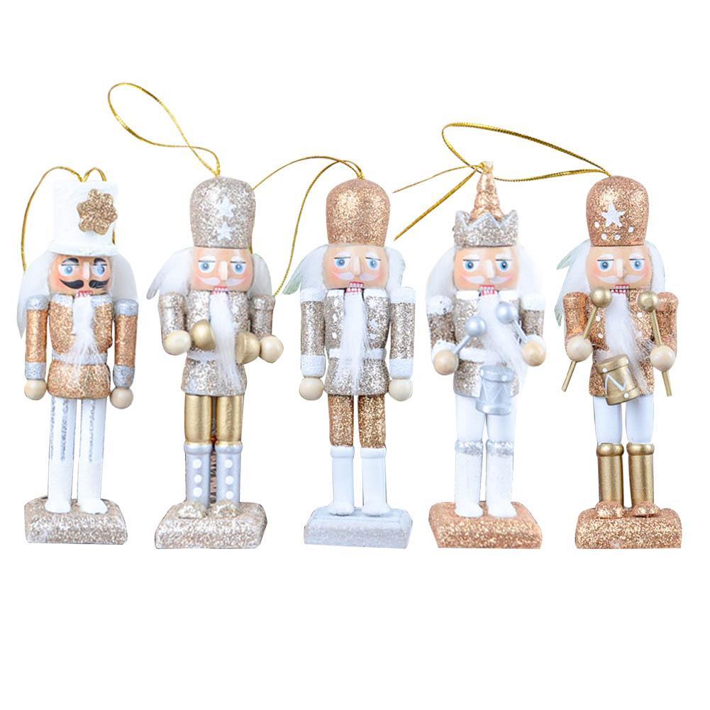 5 Pieces/Set Nutcracker Puppet New 12CM Glitter Powder Classic Nutcracker Puppet Pendant Birthday Wedding Gift