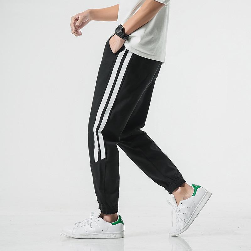 2019 Autumn Japanese-style Large Size Men'S Wear Casual Pants Men's Ribbon Stripes Skinny Pants Men's Sports Harem Pants Men's