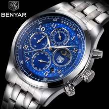 BENYAR Mens Fashion Sport Business Quartz Watch Top Brand Luxury Moon Waterproof Watches Full Steel Casual Relogio masculino benyar mens watches top luxury business watch moon phase full steel quartz chronograph sport military watch support dropshipping