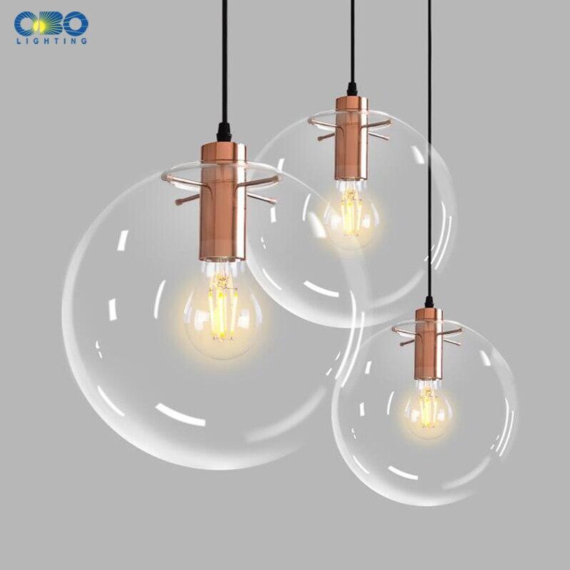 Transparent Glass Ball Pendant Lamp E27 Black/Rose Gold Parlor/Bar Counter Modern Lighting 1.2m Cord Vintage Pendant Lights