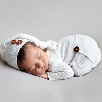 Noworodka odzież do zdjęć niemowlę węzeł kapelusz + kombinezon 2 sztuk zestaw Baby rekwizyty fotograficzne Studio noworodka strzelanie ubrania tanie i dobre opinie CYMMHCM CN (pochodzenie) W wieku 0-6m Unisex Poliester Stałe