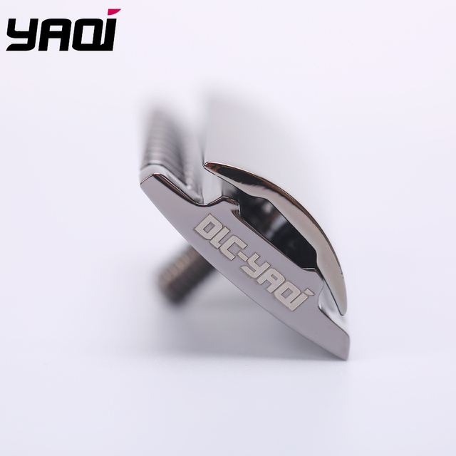 """The ""FLIPSIDE by Yaqi"" A Dual Comb Dual Aggression Level Razor Head In Chrome In Gunmetal 5"