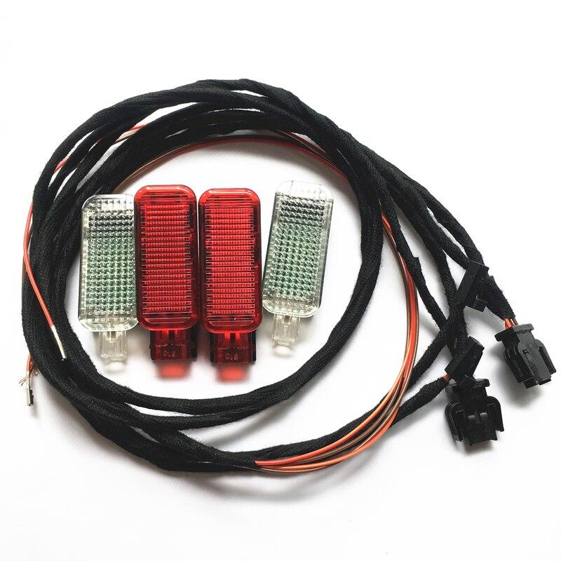 Автомобильный светодиодный светильник для ног + красная Дверная панель сигнальная лампа жгут проводов для A3 S3 A4 S4 A5 S5 A6 S6 A7 A8 S8 Q3 Q5 TT TTRS 8KD947411