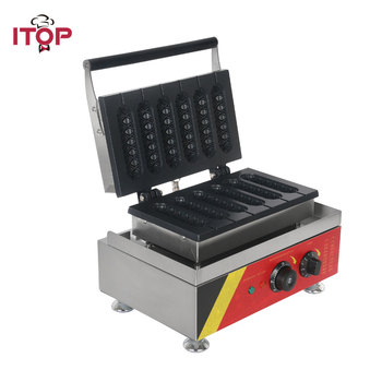 цена на ITOP Electric 6pcs muffin Hot Dog Machine Commercial Crispy corn hot dog waffle maker Machine French Muffin sausage Machine