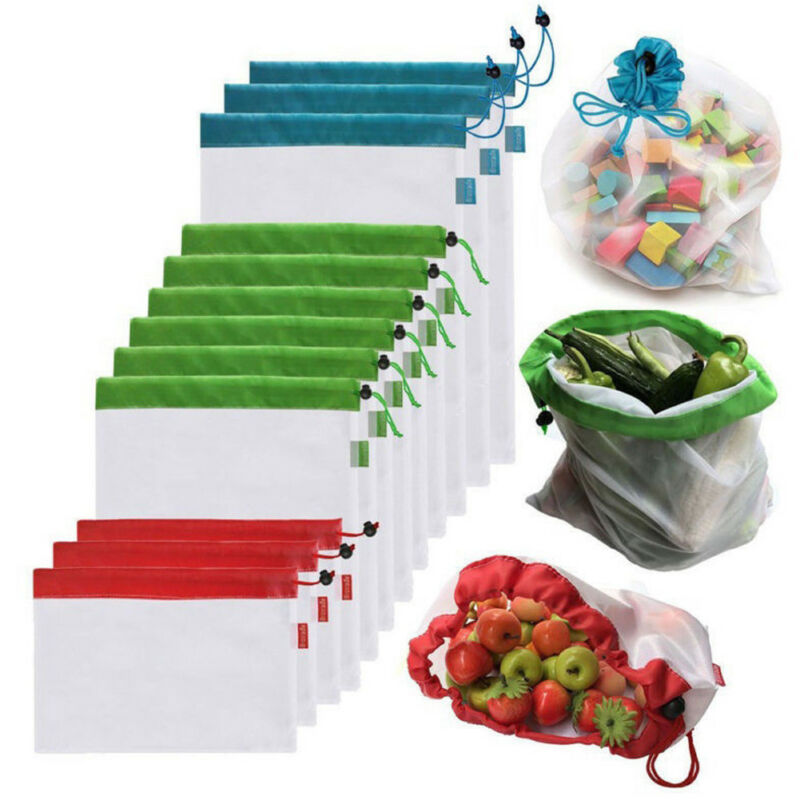 12/15 Pcs Reusable Mesh Produce Bags Kitchen Storage & Organization For Grocery Shopping Storage Fruit Vegetable Storage Bag
