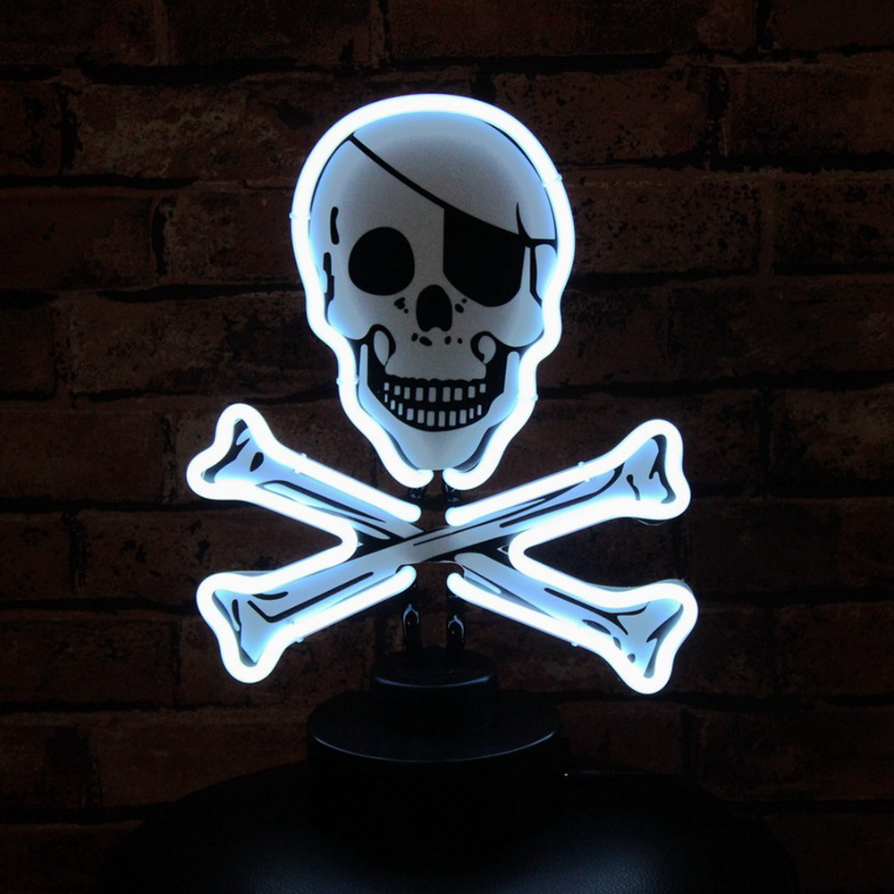 Wholesale Glass Neon Lights Personalized Customized Skull Tabletop Neon Signs
