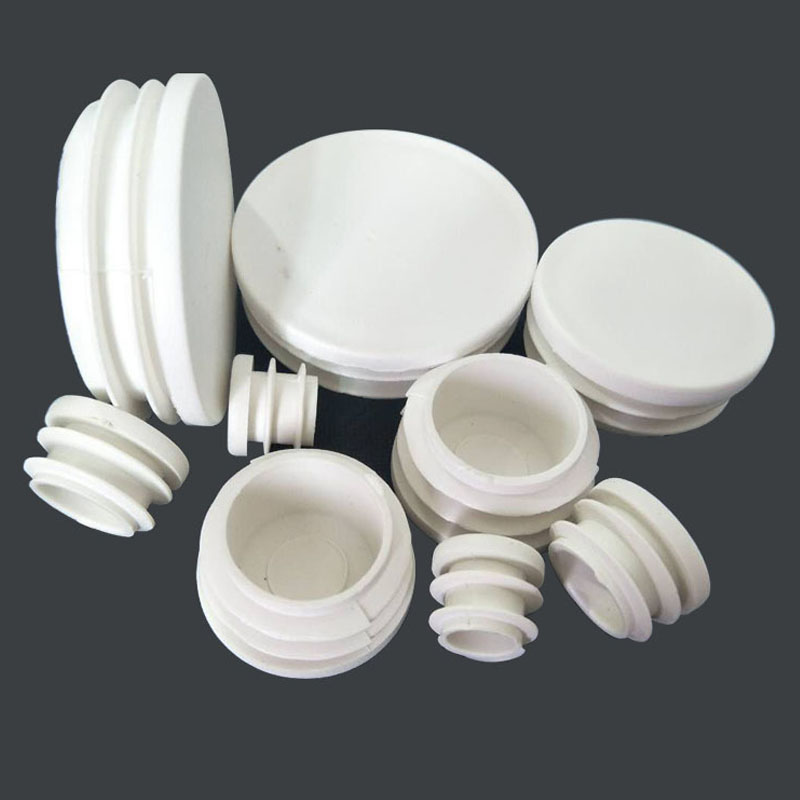 40pcs/lot White Plastic Blanking End Caps Round Pipe Tube Cap Insert Plugs Bung For Furniture Tables Chairs Protector