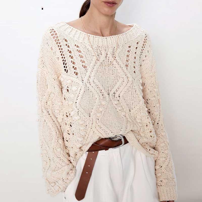 YAMDI mujer pasarela suéter mujer 2019 nueva mujer sólido albaricoque puente Otoño Invierno embellecido suéter moda elegante pulóver