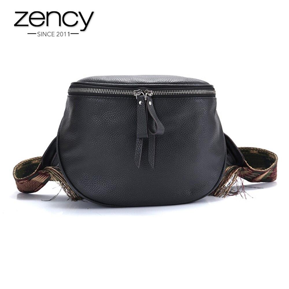 Zency 100% Genuine Leather Hangbag Retro Women Messenger Bag Black Crossbody Purse Drum Shape Small Saddle Bags Female Shoulder