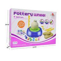 Mini DIY Ceramic Handmade Pottery Wheel Machine Kids Boys Girls Clay Arts Crafts Toys Gift
