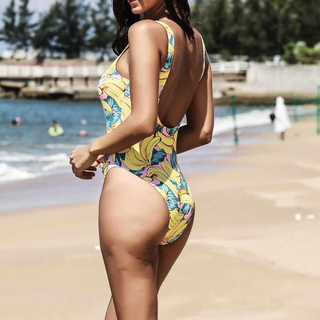 Belle banane Bikinis body pour femmes été hawaïen plage Sexy mince maillot de bain femme vacances Monokini ethnique bain Bikini