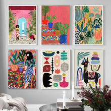 Modern Multicolored Abstract Garden PLants Wall Art Canvas Painting Picture Posters and Prints Gallery Aisle Unique Home Decor
