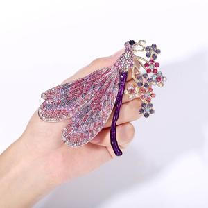 Image 1 - Женская брошь в виде животного, Золотая брошь в виде стрекозы, вечерние ювелирные изделия с кристаллами, подарок, эмаль, пин