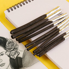 10Pcs/Pack Artist Charcoal Stick Willow Vine Charcoal Pencil Soft Black Sketch Charcoal Art Supplier for Drawing