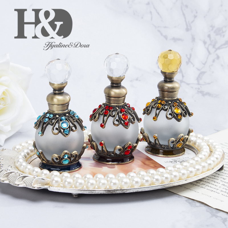 H&D 3 Colors 15ml Handmade Retro Refillable Perfume Bottle Empty Glass Frosted Fragrance Container Home Wedding Decor Xmas Gift