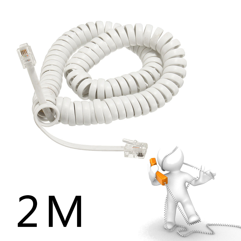 Stretching 2M Coiled Telephone Handset Cable RJ10 Phone Lead Extension Curly Spring Telephone Cord Cable RJ10 Plug Connector