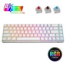 Rk68 (rk855) teclado mecânico compacto sem fio 65% rgb, 68 chaves 60% interruptores quentes swappble do jogo do teclado de bluetooth