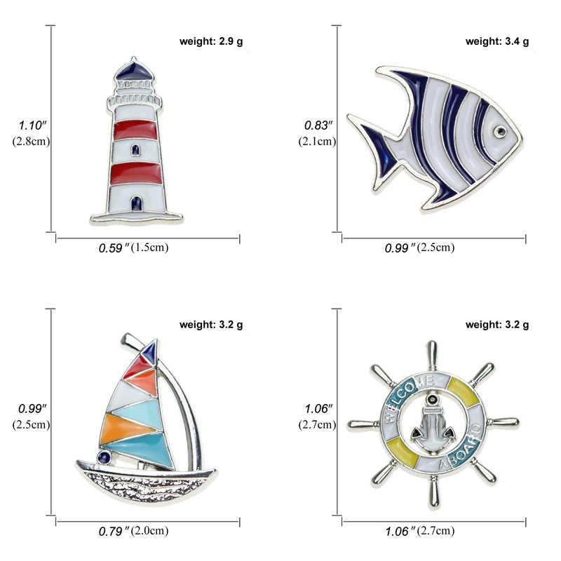 Moda donanma rüzgar tropikal balık emaye pimleri broş yaratıcı yelkenli deniz feneri dümen balık rozetleri yaka broş takı Unisex