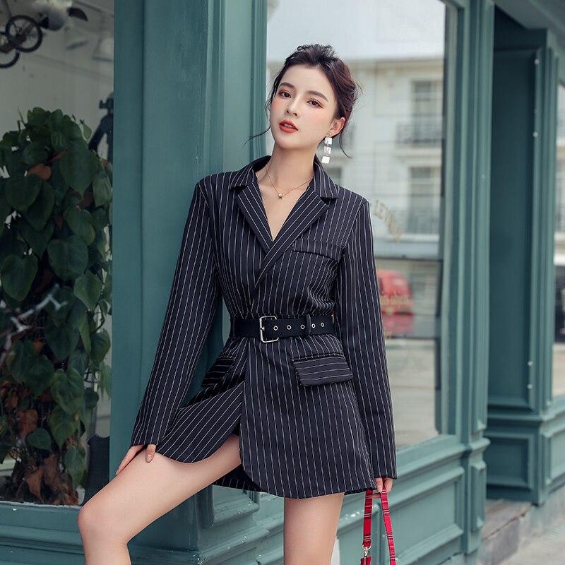 2020 Spring Streetwear Strip Women Blazer Coats Casual Sashes Female Blazers Fashion Long Sleeve Office Ladies Blazers Outwear