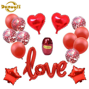 15pcs Valentine's Day Wedding Party Decoration Balloons Set Star Heart Shape Love Aluminum Foil Confetti Helium Air Balloons