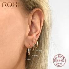 ROXI Big Size Glossy Minimalism Hoop Earrings for Women Men Geometry 925 Sterling Silver Unusual Earrings Cartilage Pendientes