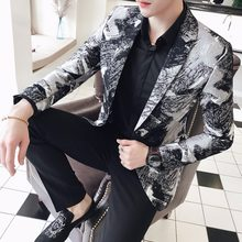 Vetement Homme 2018 Veste Mariage Lentejuela Hombre Mens Casual Wear Mens African Print Blazers Masculino Slim Fit Club Outfits(China)