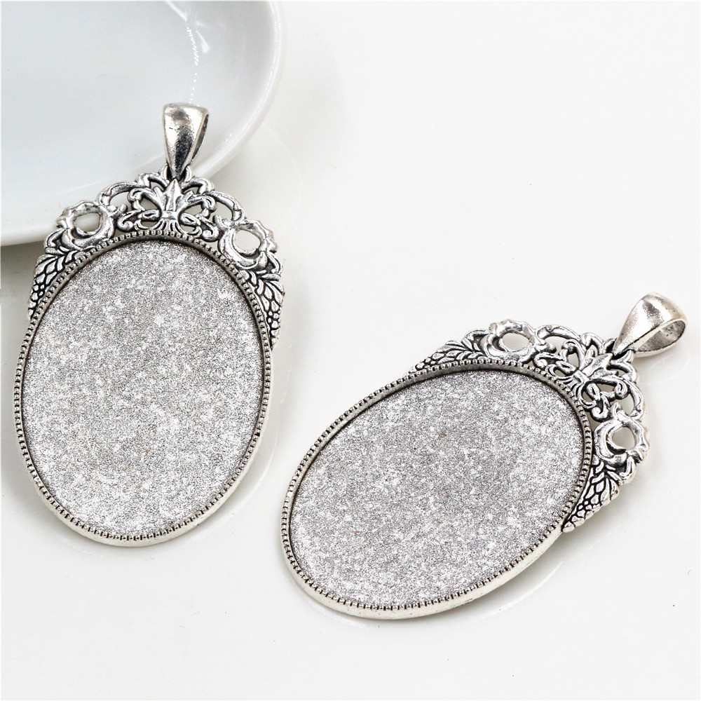 New Fashion 5pcs 30x40mm Inner Size Antique Silver Plated Flowers Style Cabochon Base Setting Charms Pendant (B3-38)