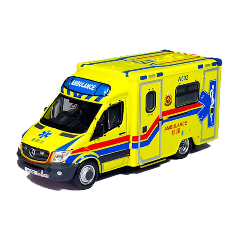 1:76  Diecast Alloy Hong Kong FSD Fire Department Ambulance Model Simulation Retro Vehicle Metal Art Traffic Collection Gifts