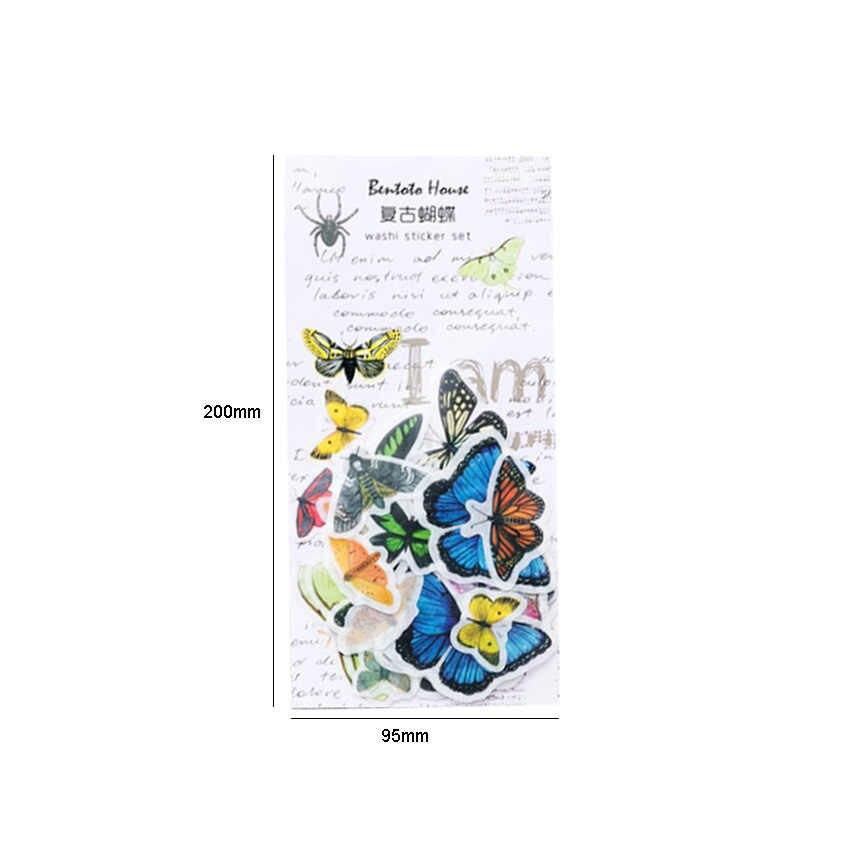 1 Paket/Banyak Kawaii Hewan dan Tumbuhan Retro Benda Alat Tulis Stiker untuk Anak-anak DIY Diary Scrapbooking Dekorasi Persediaan