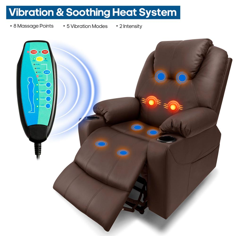 Furgle Power Lift Recliner Chair Faux Leather Electric Massage Heat and Vibration for Elderly Living Room Lounge Massage Sofa image