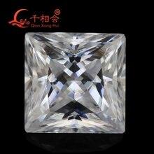 5-12mm DF GH IJ color white square shape diamond cut Sic material moissanites loose gem stone qianxianghui