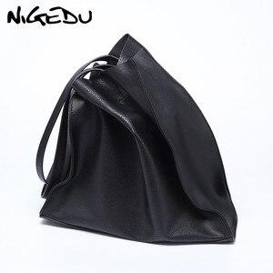 Image 1 - デザイナーの女性のハンドバッグ大容量黒ショッピングバッグ品質puレザー女性のトートバッグカジュアル女性のショルダーバッグボルサ