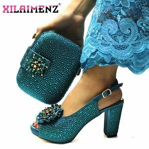 Image 1 - Высококачественный Итальянский новый дизайн, комплект из обуви и сумки бирюзового цвета, удобные вечерние туфли на каблуке и сумочка