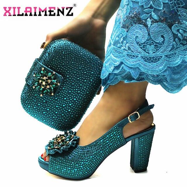Высококачественный Итальянский новый дизайн, комплект из обуви и сумки бирюзового цвета, удобные вечерние туфли на каблуке и сумочка