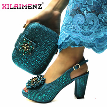 High Quality Italian New Design Matching Shoes and Bag Set in Teal Color Comfortable Heels Lady Shoes and Bag for Party