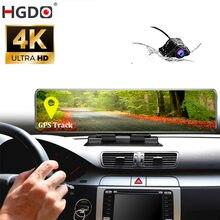 Hgdo 4k dashboard carro dvr 3840*2160p sony imx 415 espelho retrovisor gps tracker câmera 1080p gravador de vídeo do carro traço cam console