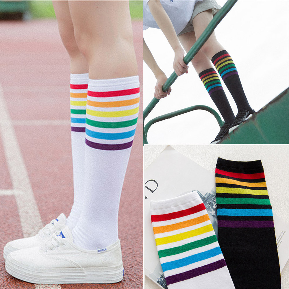 Antibacterial Healthy Fashion High Quality Cotton Socks Over Knee Rainbow Stripe Girl Comfortable Long Sock Soft Elastic Sock#D