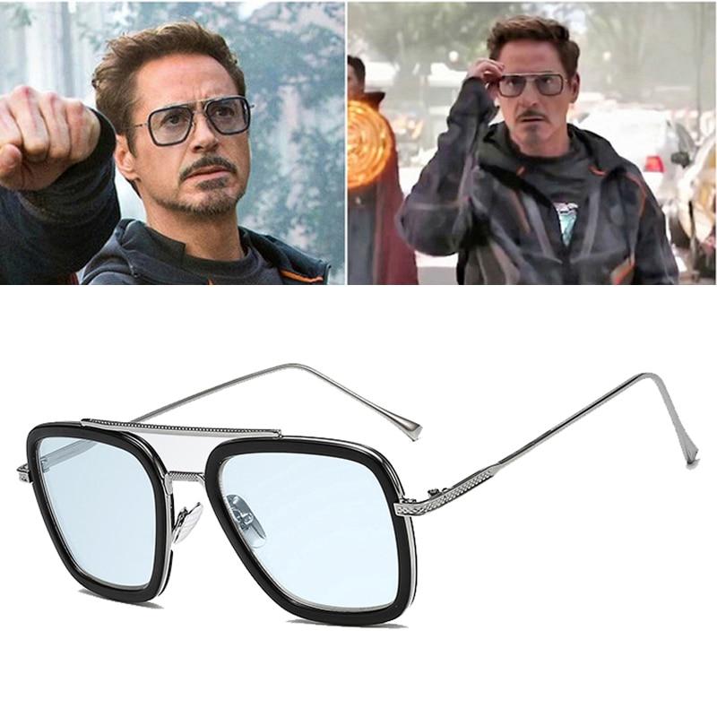 2019 Fashion Avengers Tony Stark Flight 006 Style Sunglasses Men Square Aviation Brand Design Sun Glasses Oculos De Sol UV400