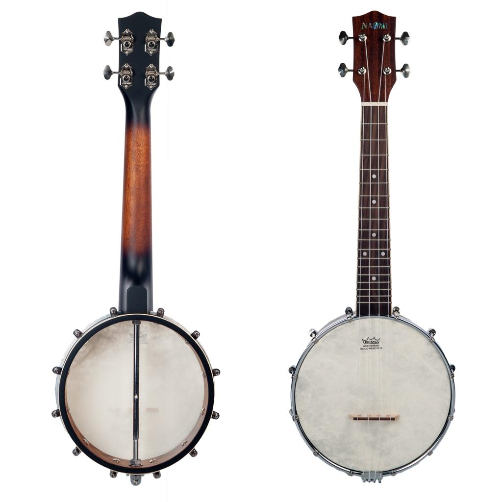 24 pouces Banjo banjolélé ukulélé Ukelele Banjo Kit 4 cordes Vintage-plaqué avec sac de transport clé