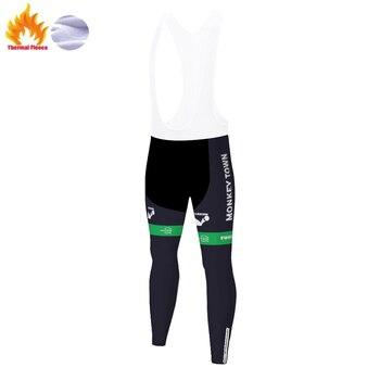 Pantalones largos de ciclismo para hombre, ropa térmica de lana, para invierno