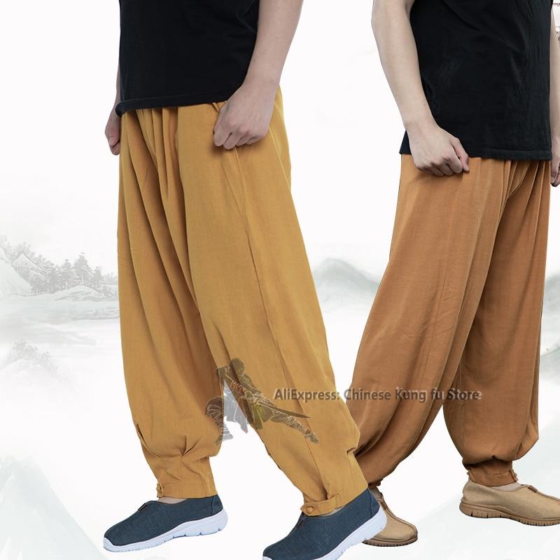 Хлопковые льняные буддийские брюки монахи, штаны Shaolin Tai chi Kung fu, одежда для медитации Lay Zen с широкими штанинами, 7 цветов|Военные брюки| | АлиЭкспресс