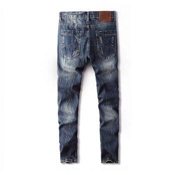 цена на Jeans Men Classic Mens Zipper Jeans Blue jeans Fashion Little feet Jeans  Ripped Hole Jeans For Men Biker Jean Long Pants 28-40